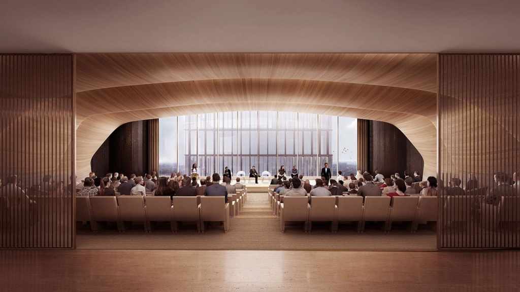 The 300-person in-house auditorium at 50 Hudson Yards.