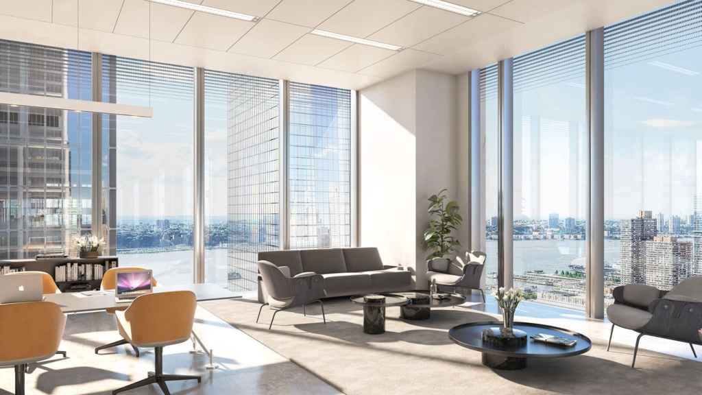 Corner office space on the 26th floor of 50 Hudson Yards, NYC.