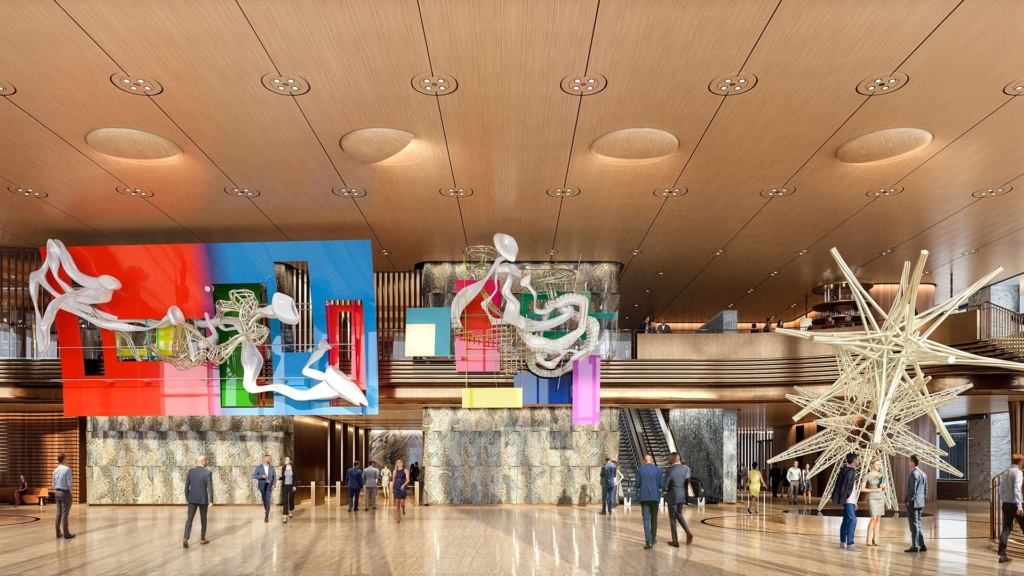 Lobby of 50 Hudson Yards decorated with modern art