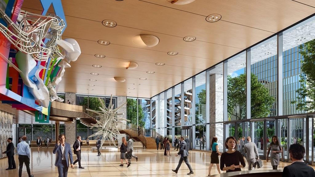 Interior shot of lobby at 50 Hudson Yards