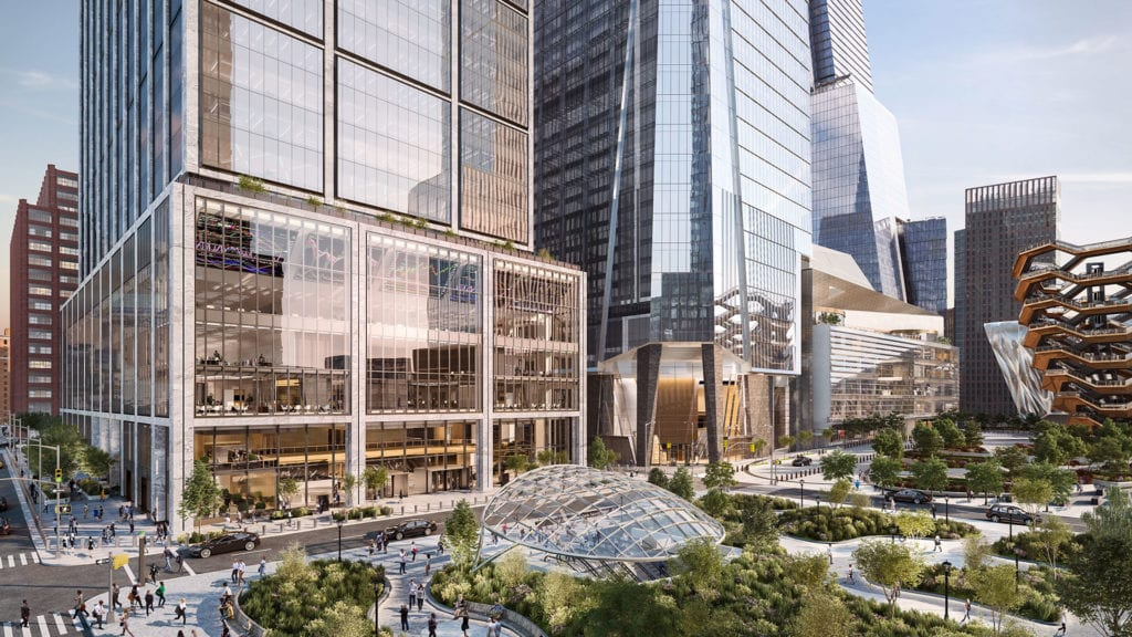 The streets, subway entrance and surrounding park of 50 Hudson Yards.