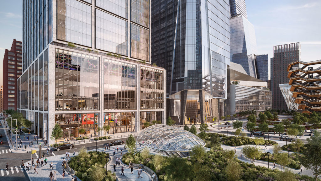 A top down view of the Hudson Yards campus just outside 50 Hudson Yards.